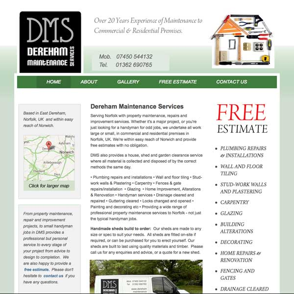 Dereham Maintenances Services website