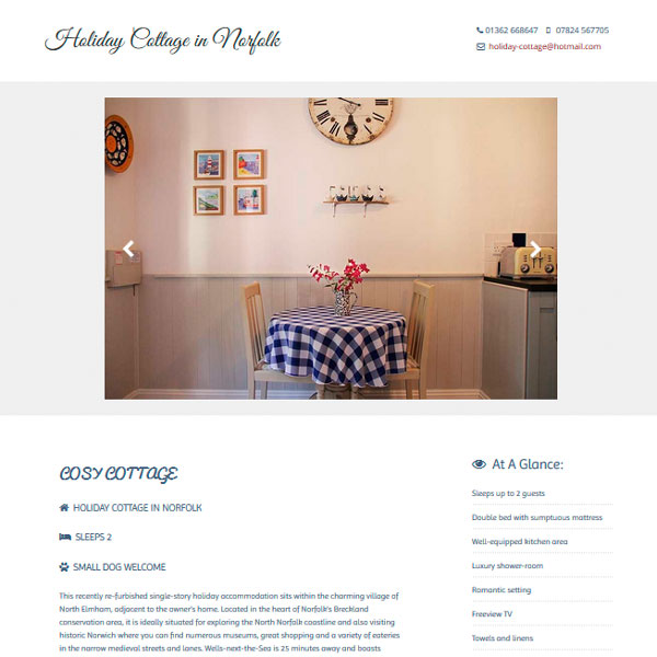 One page brochure style website design