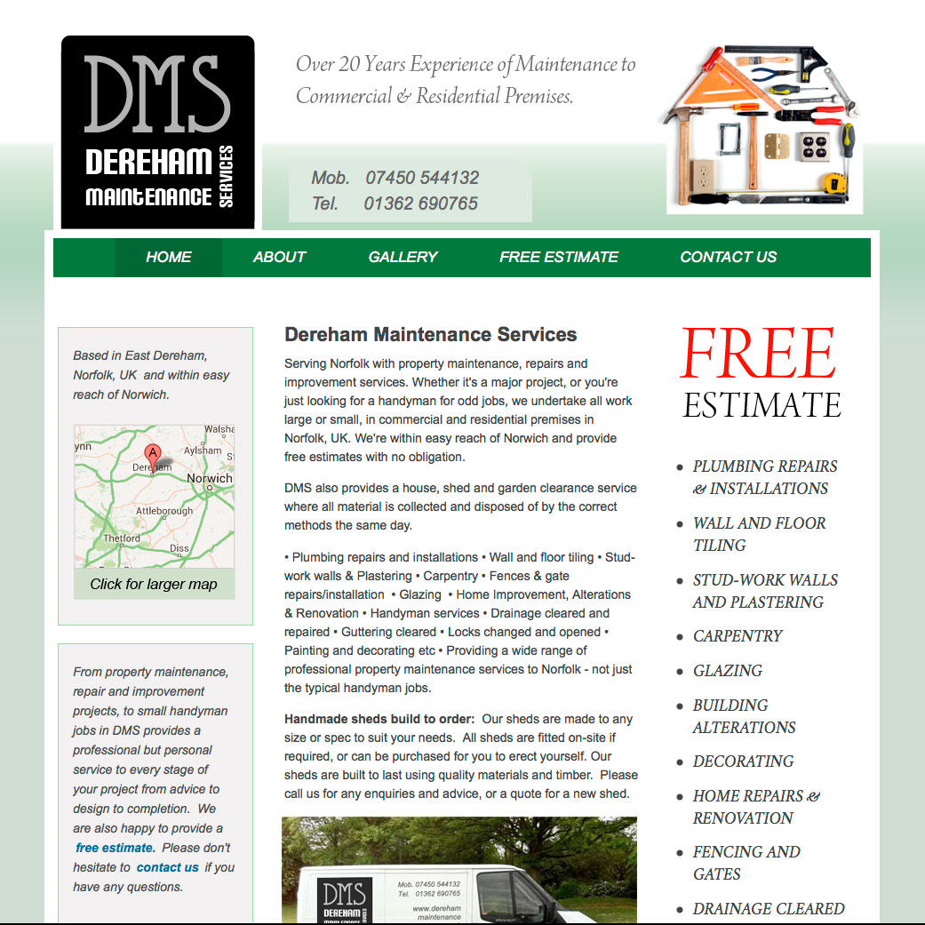Dereham Maintenace Services website